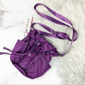 Kipling Drawstring Bag Crossbody Purple Periwinkle